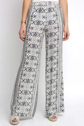 Olivaceous Wide Leg Tribal Stripe Printed Pant