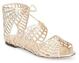 Charlotte Olympia Miss Muffet Metallic Leather Sandals