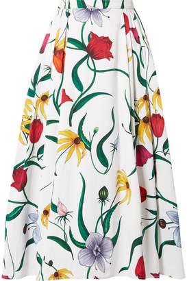 Carolina Herrera Pleated Floral-print Cotton-blend Faille Midi Skirt - White