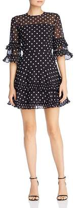 Keepsake Ruffled Dot-Print Dress