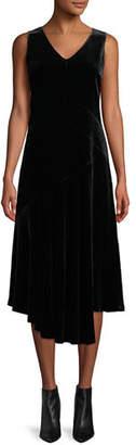 Lafayette 148 New York Ashlena V-Neck Sleeveless Asymmetric Draped Velvet Midi Dress