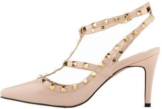 988563a42d1 CAMSSOO Women s Metal Studs Classic Strap Stiletto Pointy Toe Sandals High  Heel Shoes Size 6 EU36