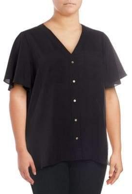 Calvin Klein Plus Short-Sleeve Flutter Top