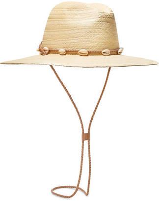 Loeffler Randall Embellished Leather-trimmed Straw Sunhat - Beige
