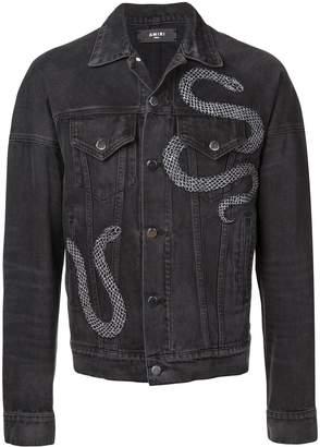 Amiri embroidered snake denim jacket