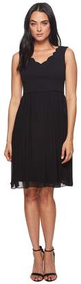 Adrianna Papell Knit Crepe Scalloped Fit Flare Women's Dress