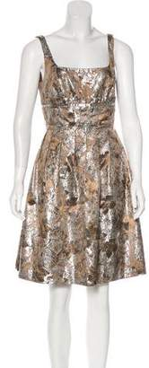 Carmen Marc Valvo Metallic Sleeveless Dress