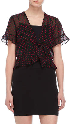 BCBGeneration Black Fil Coupe Tie-Front Top