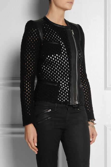 IRO Lina leather and open-knit wool-blend jacket