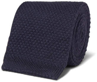 Loro Piana 6cm Knitted Cashmere and Silk-Blend Tie - Navy