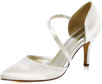 Elegantpark HC1711 Women High Heel Strappy Dress Pumps Pointy Toe Satin Wedding Party Shoes US 6.5