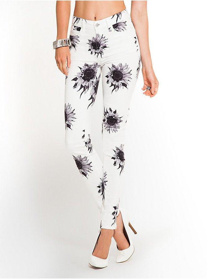 GUESS 1981 High-Waisted Sunflower-Print Skinny Jeans