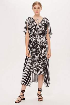Topshop **Palm Print and Striped Dress by Boutique