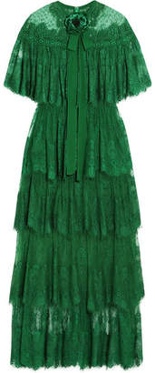 Tiered Swiss-dot Lace Gown - Forest green