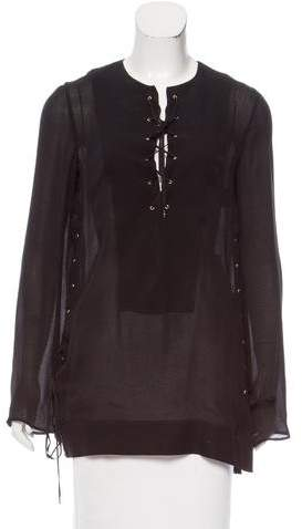 Tom Ford Silk Lace-Up Top w/ Tags