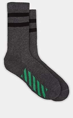 Off-White Men's Multi-Striped Stretch-Cotton Mid-Calf Socks - Black Pat.