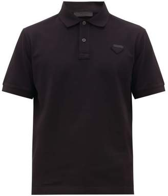Prada Conceptual Triangle Logo Cotton Pique Polo T Shirt - Mens - Black