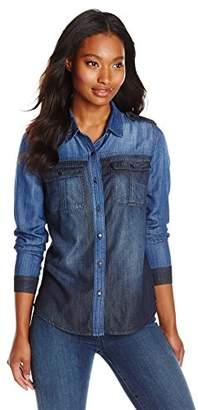 Kensie Jeans Women's Utility Colorblocked Denim Shirt $20.31 thestylecure.com