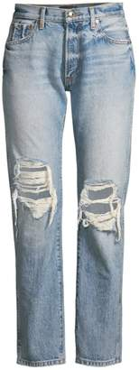 KHAITE Kyle Relaxed-Fit Distressed Ankle Jeans