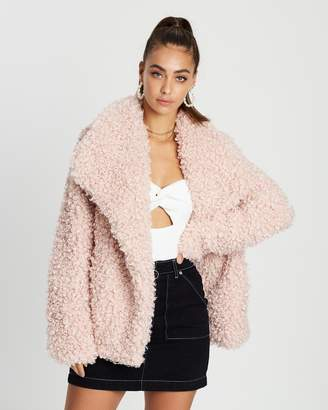 Missguided Shaggy Waterfall Faux Fur Jacket