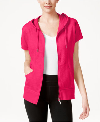 Style & Co. Short-Sleeve Zip-Front Hoodie, Only at Macy's $24.98 thestylecure.com