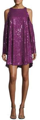 Parker Black Naomi Textured Cold-Shoulder Cocktail Dress