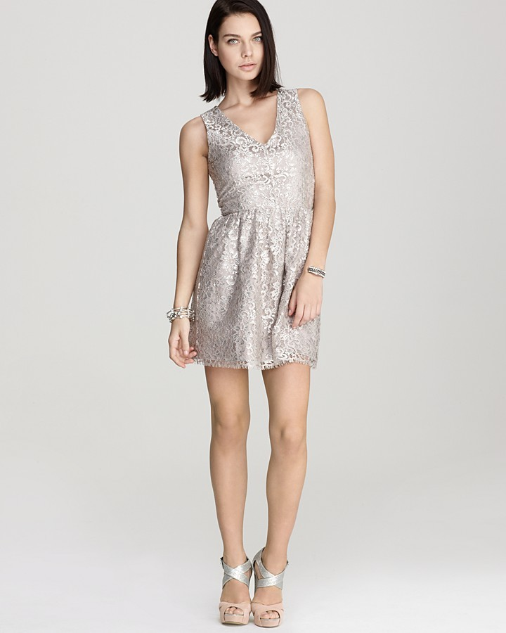 Aqua Dress - Metallic Lace Party