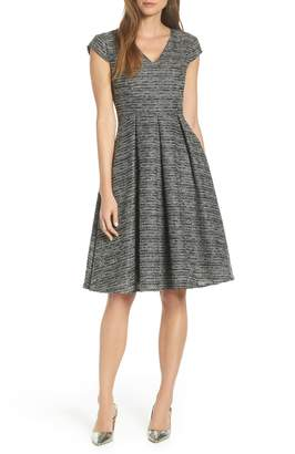 1901 Cap Sleeve Tweed Fit & Flare Dress