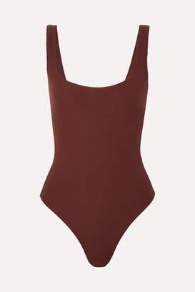 Alix Mott Stretch-jersey Thong Bodysuit - Chocolate