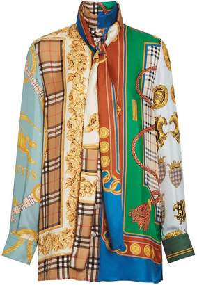 Burberry Archive Scarf Print Silk Tie-neck Shirt