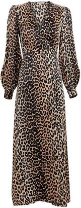 Ganni Leopard Print Satin Wrap Dress