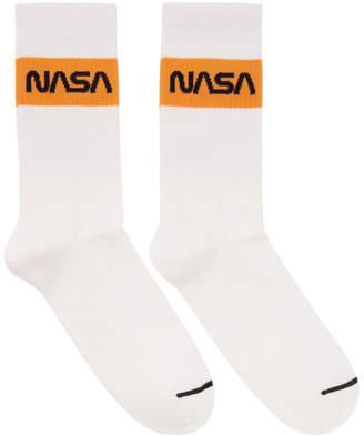 Heron Preston White Cotton Rib Socks