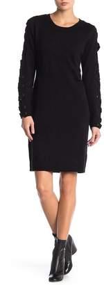 Love Scarlett Laced Sleeve Crew Neck Sweater Dress