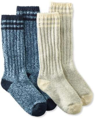 """L.L. Bean L.L.Bean Merino Wool Ragg Socks, 12"""" Stripe Two-Pack"""