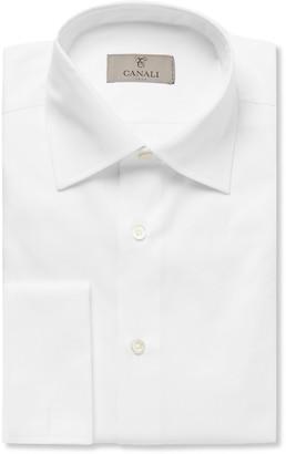 Canali White Slim-Fit Double-Cuff Cotton-Twill Shirt - Men - White