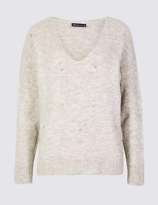 M&S Collection Embellished V-Neck Jumper