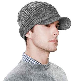 Jeff & Aimy 37% Wool Knit Visor Beanie Mens Winter Hat Brim Cuff Newsboy Jeep Cap Cold Weather Hat 2-Layer Grey