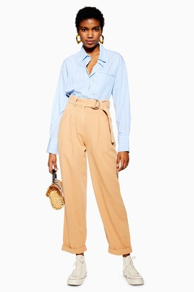 Topshop Womens Belted Menswear Style Trousers - Apricot