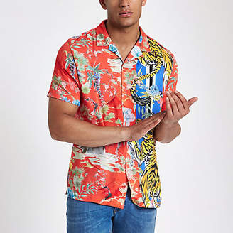 River Island Mens Red tiger print revere shirt