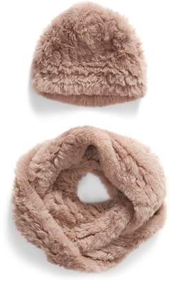 Love Token Faux Fur Beanie & Scarf Set