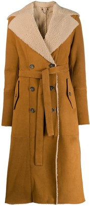 Desa 1972 shearling lined trench coat