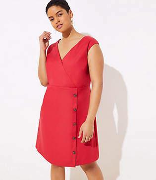 4076b22f53c LOFT Plus Side Button Wrap Dress