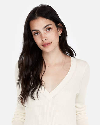 Express Ribbed V-Neck Sweater