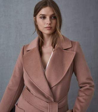 Reiss Faris - Belted Longline Coat in Mocha