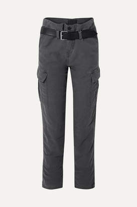 RtA Sallinger Belted Cotton-twill Cargo Pants - Dark gray