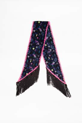 Zadig & Voltaire Silky Fringes Tattoo Pirate Scarf