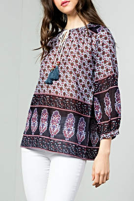 THML Clothing Boho Tie Top