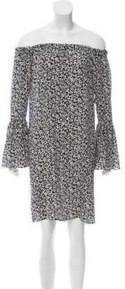 Michael Kors Off-The-Shoulder Silk Dress