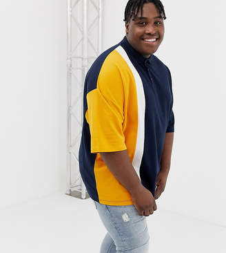Asos DESIGN Plus oversized polo shirt in pique fabric with vertical color block in navy