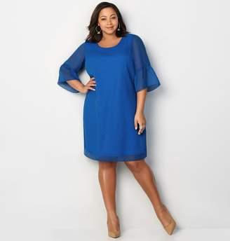 Avenue Clip Dot Bell Sleeve A-Line Dress